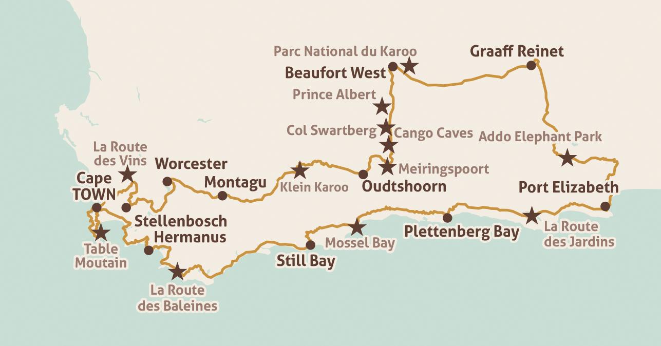 Carte Afrique Du Sud Ouest.Voyage A Moto Afrique Du Sud Route 62 Tours